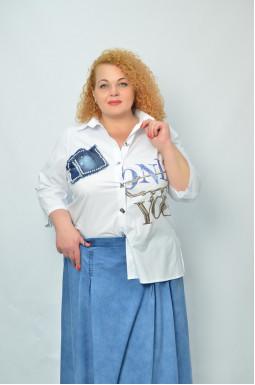 Стильна сорочка з принтом батал