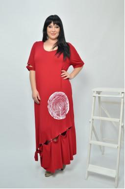 Довга сукня з коротким рукавом супер батал
