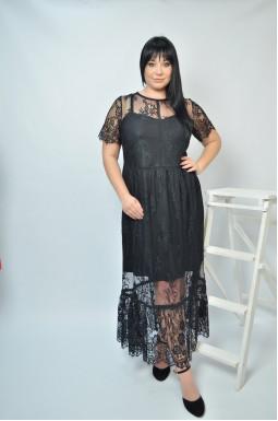 Нарядное ажурное платье батал