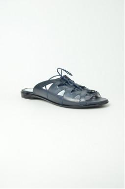 Шкіряні шльопанці на шнурівці великих розмірів