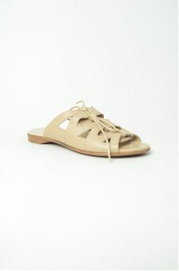 Шкіряні літні шльопанці на шнурівці великих розмірів