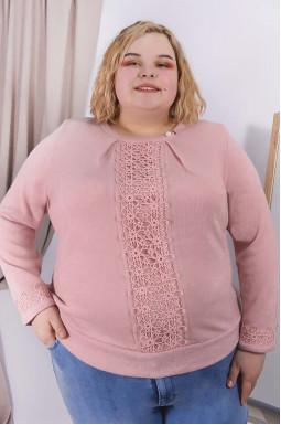 Блуза теплая с декором супер батал