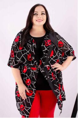Блуза двойка длинная с красными маками батал