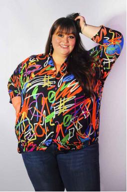 Блуза длинная разноцветная супер батал