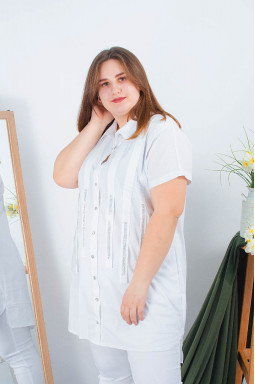 Короткая туника-рубашка супер батал