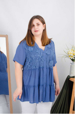 Блуза длинная трапеция супер батал