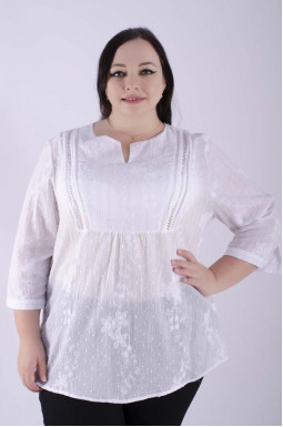Длинная блуза батист с цветами супер батал