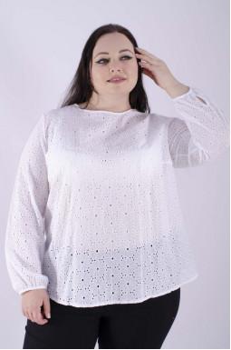 Блуза батист с длинным рукавом супер батал