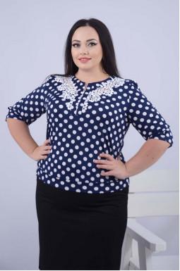 Укорочена пряма блуза з принтом супер батал
