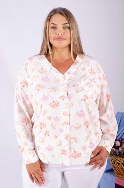 Легкая всесезонная блуза с нежным принтом супер батал