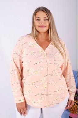 Витончена  блуза софт з квітами супер батал