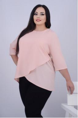 Легка однотонна блуза батал