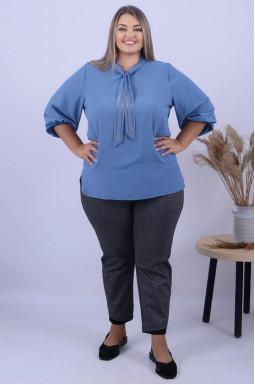 Нарядная длинная блуза с блеском батал