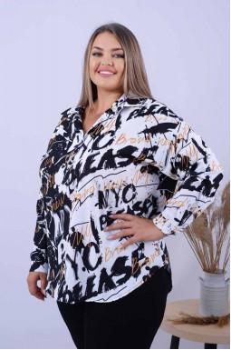 Подовжена блуза з прикрасою батал