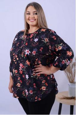 Блуза з квітковим принтом супер батал