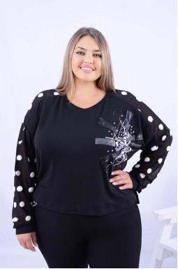 Блуза вкорочена з яскравим декором супер батал