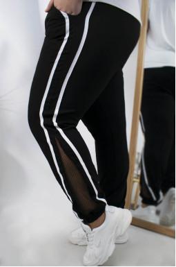 Стильные  зауженные брюки с сеткой супер батал