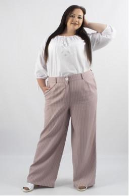 Лляні широкі брюки у смужку батал