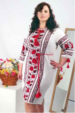 Сукня-вишиванка з поясом супер батал