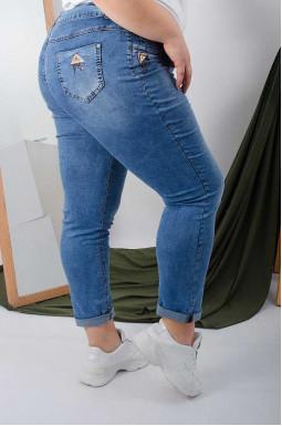 Стильні джинси завужені з декором на кишенях батал