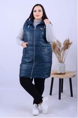 Стильный удлиненный жилет с карманами батал
