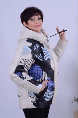Зимова вкорочена куртка з яскравим малюнком батал
