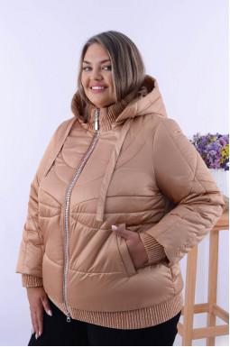 Стильная демисезонная однотонная куртка батал