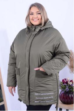Куртка коротка зимова з написами батал