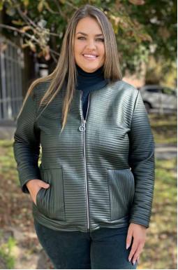 Куртка коротка зі штучної шкіри супер батал