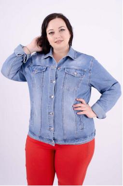 Куртка джинсовая с рисунком на спине батал