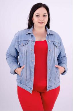 Куртка джинсовая с блестками на спине батал