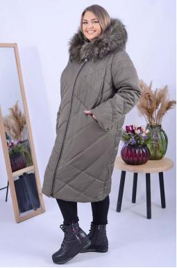 Пальто з хутром на капюшоні супер батал