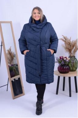 Пальто зимове  однотонне з поясом і капюшоном супер батал