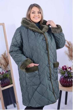 Пальто з еко хутром на капюшоні та кишенях супер батал