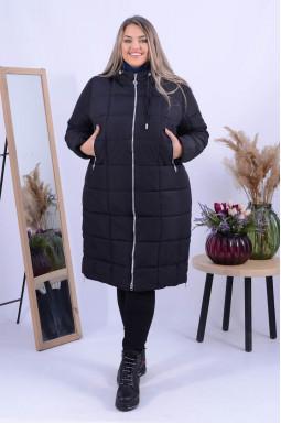 Стильне зимове довге пальто холлофайбер батал
