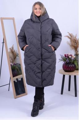 Пальто холлофайбер зимове з капюшоном батал