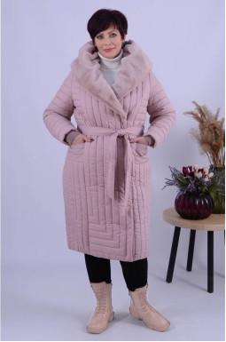 Стильне зимове пальто холлофайбер+пояс супер батал