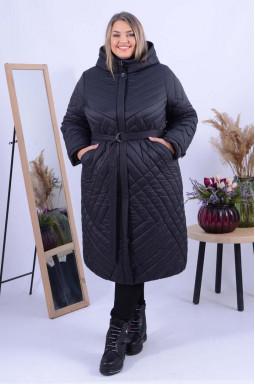 Зимове пальто з поясом батал