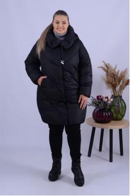Тепле пальто холлофайбер з прикрасою батал