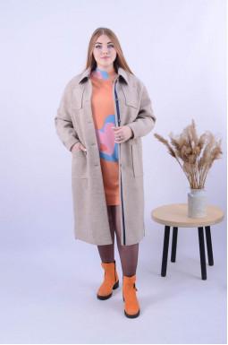 Однотонне пряме пальто батал