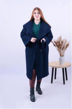 Демісезонне пряме пальто з поясом батал