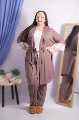 Комплект пижама с халатом супер батал