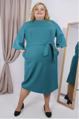 Сукня напівсвітська з поясом супер батал