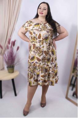 Сарафан-сукня з поясом батал