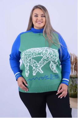 Теплий подовжений светр з абстракцією батал