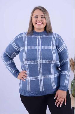 Теплий подовжений светр батал