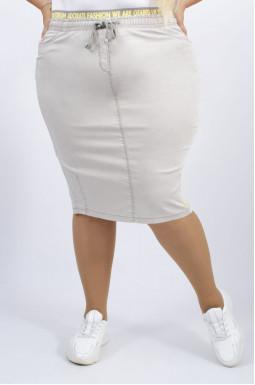 Спідниця міді однотонна джинсова батал