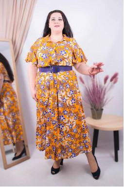 Сукня з поясом максі батал