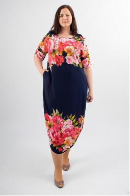 Платье миди с крупными цветами супер батал