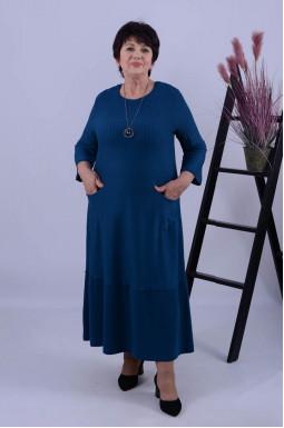 Однотонное платье миди + украшение